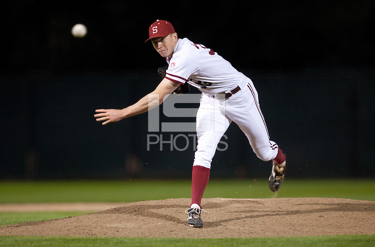 STANFORD, CA - March 1, 2011: Chris Reed of Stanford baseball pitches during Stanford's game against Santa Clara at Sunken Diamond. Stanford won 8-4.