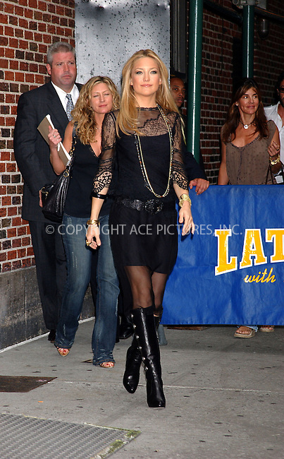 WWW.ACEPIXS.COM . . . . . ....NEW YORK, AUGUST 8, 2005....Kate Hudson at an appearance on The Late Show with David Letterman.....Please byline: KRISTIN CALLAHAN - ACE PICTURES.. . . . . . ..Ace Pictures, Inc:  ..Craig Ashby (212) 243-8787..e-mail: picturedesk@acepixs.com..web: http://www.acepixs.com