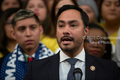 United States Representative Joaquin Castro (Democrat of Texas), joined by other Democratic lawmakers, speaks during a press conference on the Deferred Action for Childhood Arrivals program on Capitol Hill in Washington D.C., U.S. on Tuesday, November 12, 2019.  The Supreme Court is currently hearing a case that will determine the legality and future of the DACA program.  <br /> <br /> Credit: Stefani Reynolds / CNP