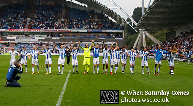 Huddersfield Town 1 Wolverhampton Wanderers 0, 27/08/2016. John Smith's Stadium, Championship. Huddersfield players applaud the fans. Photo by Paul Thompson.