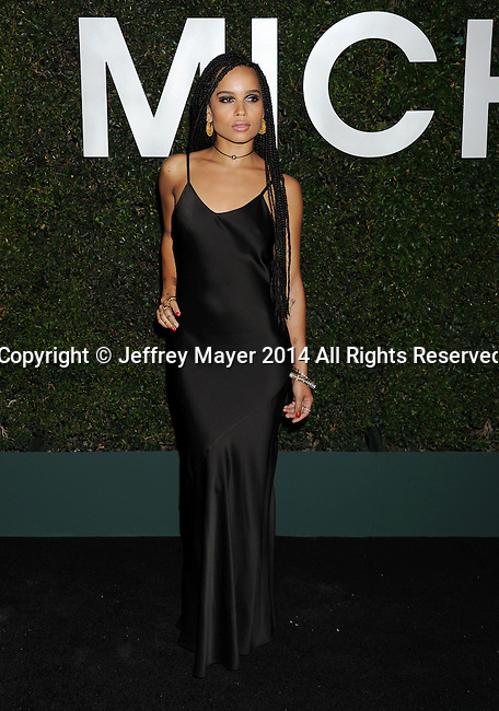BEVERLY HILLS, CA- OCTOBER 02: Actress/singer Zoe Kravitz  arrives at the Michael Kors Hosts Launch Of Claiborne Swanson Frank's 'Young Hollywood' Portrait Book at a private residence on October 2, 2014 in Beverly Hills, California.