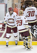 Brian Boyle 10 of Boston College is always the last off the ice.  The Eagles of Boston College defeated the Falcons of Bowling Green State University 5-1 on Saturday, October 21, 2006, at Kelley Rink of Conte Forum in Chestnut Hill, Massachusetts.<br />