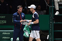 20th November 2019, Caja Magica, Madrid, Spain; Davies Cup tennis finals, Great Britain versus Netherlands;   Andy Murray - Leon Smith capitaine