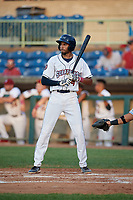 Mahoning Valley Scrappers Michael Cooper (4) at bat during a NY-Penn League game against the Hudson Valley Renegades on July 15, 2019 at Eastwood Field in Niles, Ohio.  Mahoning Valley defeated Hudson Valley 6-5.  (Mike Janes/Four Seam Images)