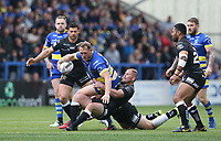 Warrington Wolves' Ben Westwood is outnumbered by the Hull FC defence  <br /> <br /> Photographer Stephen White/CameraSport<br /> <br /> Betfred Super League Round 15 - Warrington Wolves v Hull FC - Saturday 18th May 2019 - Halliwell Jones Stadium - Warrington<br /> <br /> World Copyright © 2019 CameraSport. All rights reserved. 43 Linden Ave. Countesthorpe. Leicester. England. LE8 5PG - Tel: +44 (0 116 277 4147 - admin@camerasport.com - www.camerasport.com