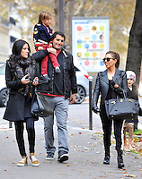 Kourtney Kardashian, her son Mason and a few friends stroll toward the 'Arc de Triomphe', then take a pedicab back to their hotel, in Paris, France, on November 13 2012.<br />