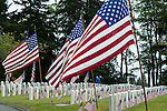 Memorial Day Ceremony at cemetary with American Flags at grave sites with man and woman visiting grave stones