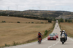 The early breakaway group Alessandro De Marchi (ITA) BMC, Stefan Denifl (AUT) Aqua Blue Sport and Daniel Moreno (ESP) Movistar Team in action during Stage 17 of the 2017 La Vuelta, running 180.5km from Villadiego to Los Machucos. Monumento Vaca Pasiega, Spain. 6th September 2017.<br /> Picture: Unipublic/&copy;photogomezsport   Cyclefile<br /> <br /> <br /> All photos usage must carry mandatory copyright credit (&copy; Cyclefile   Unipublic/&copy;photogomezsport)