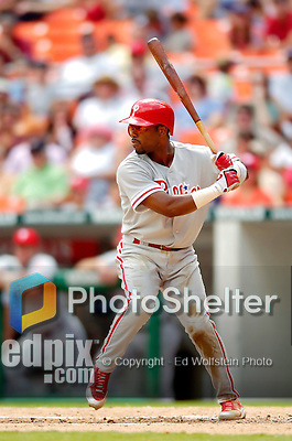 4 September 2005: Jimmy Rollins, shortstop for the Philadelphia Phillies, at bat against the Washington Nationals. The Nationals defeated the Phillies 6-1 at RFK Stadium in Washington, DC. Mandatory Photo Credit: Ed Wolfstein.