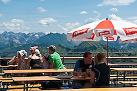 Austria, Vorarlberg, Schoppernau: restaurant on top of Diedamskopf mountain