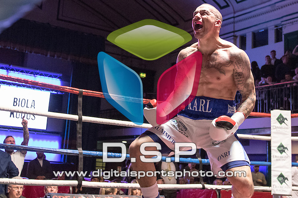 Karl Wheeler VS Biola Kudus - British Cruiserweight Classic Challenge Belt. Photo by: Simon Downing.<br /> <br /> Goodwin Boxing: Paddy's Day Punch Up - Saturday 19th March 2016. York Hall, Bethnal Green, London, United Kingdom.