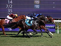 DEL MAR, CA - NOVEMBER 04: Declarationofpeace #9, ridden by Ryan Moore, comes on the outside to edge Sound And Silence #5, ridden by William Buick, rear, to win the Qatar Juvenile Turf Sprint Stakes race on Day 2 of the 2017 Breeders' Cup World Championships at Del Mar Racing Club on November 4, 2017 in Del Mar, California. (Photo by Kazushi Ishida/Eclipse Sportswire/Breeders Cup)