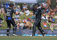 Henry Nicholls (left) congratulates Ross Taylor on his half century during the One Day International cricket match between NZ Black Caps and Sri Lanka at Mount Maunganui, New Zealand on Saturday, 5 January 2019. Photo: Dave Lintott / lintottphoto.co.nz