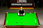 30th January 2019, Berlin, Germany;  A referee positions snooker balls at the German Masters 2019.