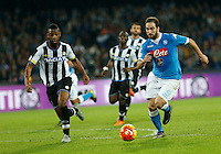 Gonzalo Higuain controls the ball during the  italian serie a soccer match,between SSC Napoli and Udinese      at  the San  Paolo   stadium in Naples  Italy , November 08, 2015