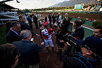 DEC 28: Mike Smith is interviewed after winning the Malibu Stakes on at Santa Anita Park in Arcadia, California on December 28, 2019. Evers/Eclipse Sportswire/CSM