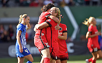 Portland, Oregon - Sunday September 4, 2016: Portland Thorns FC midfielder Lindsey Horan (7) and Portland Thorns FC forward Christine Sinclair (12) during a regular season National Women's Soccer League (NWSL) match at Providence Park.