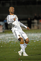 Los Angeles Galaxy midfielder (23) David Beckham watches the flight of the ball that he just kicked during an MLS regular season match against the Colorado Rapids at Dicks Sporting Goods Park in Commerce City, Colorado on March 29, 2008. The Rapids defeated the Galaxy 4-0.
