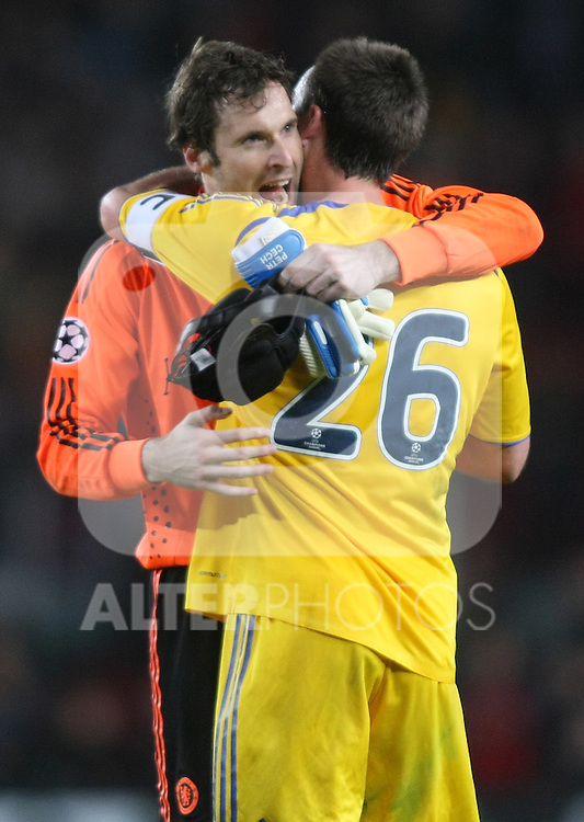 Chelsea's Petr Cech and John Terry celebrate the 0-0 after the UEFA Champions League match.April 28 2009. (ALTERPHOTOS/Acero).
