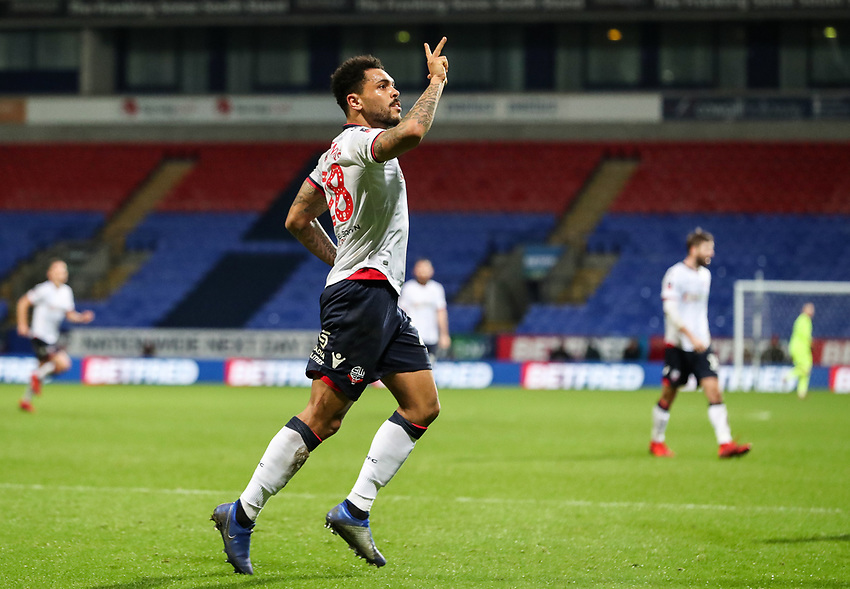Bolton Wanderers' Josh Magennis celebrates scoring his side's fourth goal <br /> <br /> Photographer Andrew Kearns/CameraSport<br /> <br /> Emirates FA Cup Third Round - Bolton Wanderers v Walsall - Saturday 5th January 2019 - University of Bolton Stadium - Bolton<br />  <br /> World Copyright © 2019 CameraSport. All rights reserved. 43 Linden Ave. Countesthorpe. Leicester. England. LE8 5PG - Tel: +44 (0) 116 277 4147 - admin@camerasport.com - www.camerasport.com