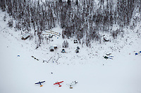 An aerial view shows teams resting at the halfway ghost-town checkpoint of Iditarod on Thursday March 7, 2013...Iditarod Sled Dog Race 2013..Photo by Jeff Schultz copyright 2013 DO NOT REPRODUCE WITHOUT PERMISSION