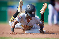 West Virginia Black Bears right fielder Michael De La Cruz (30) slides into third base during a game against the Batavia Muckdogs on July 1, 2018 at Dwyer Stadium in Batavia, New York.  Batavia defeated West Virginia 8-4.  (Mike Janes/Four Seam Images)