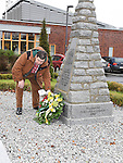 Leonard Hatrick lays a wreath at the war memorial service in Ardee. Photo:Colin Bell/pressphotos.ie