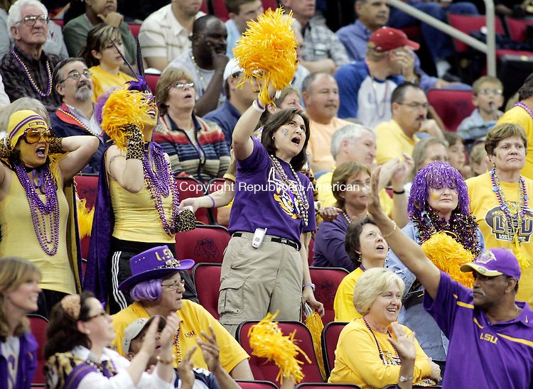FRESNO, CA. 26 March 2007-032607SV17--LSU fans cheer  their team onto vivtory against UConn during the elite eight round of the NCAA tournament at the Save Mart Center in Fresno, CA. Monday.<br /> Steven Valenti Republican-American
