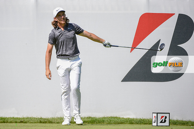 Tommy Fleetwood (ENG) watches his tee shot on 10 during 3rd round of the World Golf Championships - Bridgestone Invitational, at the Firestone Country Club, Akron, Ohio. 8/4/2018.<br /> Picture: Golffile | Ken Murray<br /> <br /> <br /> All photo usage must carry mandatory copyright credit (© Golffile | Ken Murray)