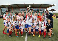 Auckland team celebrates with the trophy after the National Women's Football League Final match between Canterbury United Pride and Auckland Football Federation at English Park in Christchurch, New Zealand on Sunday, 10 December 2017. Photo: Martin Hunter / lintottphoto.co.nz