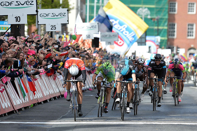 Marcel Kittel (GER) Team Giant-Shimano outsprints Ben Swift (GBR) Team Sky to win the 3rd stage of the 2014 Giro d'Italia 187km running from Armagh to Dublin.11th May 2014.<br /> Picture: Fabio Ferrari/LaPresse/Eoin Clarke www.newsfile.ie