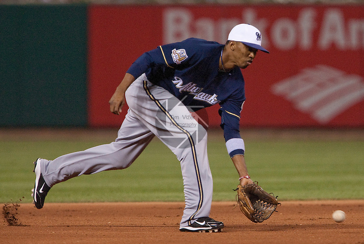 July 1, 2010       Milwaukee Brewers shortstop Alcides Escobar (21) scoops up a grounder late in the game.  The St. Louis Cardinals defeated the Milwaukee Brewers 5-0 in the second game of a four-game homestand at Busch Stadium in downtown St. Louis, MO on Friday July 2, 2010.