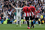 Real Madrid's Karim Benzema celebrates goal during La Liga match between Real Madrid and Athletic Club de Bilbao at Santiago Bernabeu Stadium in Madrid, Spain. April 21, 2019. (ALTERPHOTOS/A. Perez Meca)