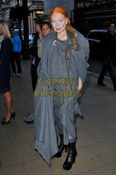 Vivienne Westwood.Wool Modern private view, La Galleria, Royal Opera Arcade, London, England..September 7th, 2011.full length grey gray dress wrap shawl platform boots black.CAP/CAS.©Bob Cass/Capital Pictures.