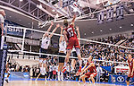 07 MAY 2016: Miles Johnson (13) of Ohio State University goes for a kill against Brigham Young University during the Division I Men's Volleyball Championship held at Rec Hall on the Penn State University campus in University Park, PA.  Ohio State defeated BYU 3-1 for the national title.  Ben Solomon/NCAA Photos