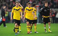 4. November 2011: Duesseldorf, Esprit-Arena: Fussball 2. Bundesliga, 14. Spieltag: Fortuna Duesseldorf - SG Dynamo Dresden: Dresdens Spieler sind nach dem Spiel enttaeuscht.