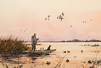 A watercolor painting by American painter Eldridge Hardie (cq) in his home studio in Denver, Colorado, Thursday, September 25, 2014. Hardie, born in 1940 near Boerne, Texas has lived in Colorado since 1966. An avid hunter and fisherman, Hardie is celebrated for his realistic paintings of wildlife and sportsman activities.<br /> <br /> Photo by Matt Nager