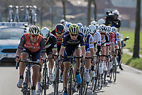 the decisive breakaway that was formed after the 2nd ascent of the Kemmelberg with Jens Keukeleire (BEL/Orica-Scott) pacing the group<br /> <br /> 79th Gent-Wevelgem 2017 (1.UWT)<br /> 1day race: Deinze › Wevelgem - BEL (249km)
