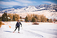 A cross-country skier skis the Lindley Park ski trails in Bozeman, Montana.