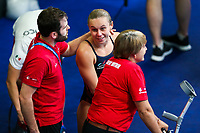 Picture by Rogan Thomson/SWpix.com - 18/07/2017 - Diving - Fina World Championships 2017 -  Duna Arena, Budapest, Hungary - Robyn Birch of Great Britain talks to coaches Marc Holdsworth and Jane Figuerdo after she competes in the Mixed Team Event Final with Dan Goodfellow.