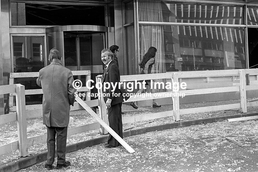 Just another day - just another bomb, the 27th to be precise and Harper Brown, manager, of the much-bombed Europa Hotel, Belfast, during the Troubles in N Ireland, surveys the damage caused by the most recent Provisional IRA bomb. Despite extensive internal damage happily no one was injured. 197501180056c..Copyright Image from Victor Patterson, 54 Dorchester Park, Belfast, UK, BT9 6RJ..Tel: +44 28 9066 1296.Mob: +44 7802 353836.Voicemail +44 20 8816 7153.Skype: victorpattersonbelfast.Email: victorpatterson@me.com.Email: victorpatterson@ireland.com (back-up)..IMPORTANT: If you wish to use this image or any other of my images please go to www.victorpatterson.com and click on the Terms & Conditions. Then contact me by email or phone with the reference number(s) of the image(s) concerned.