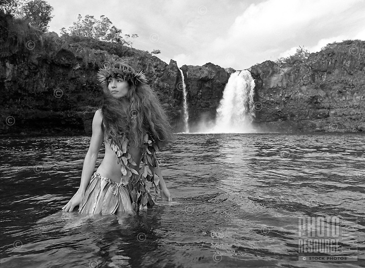 Young Hawaiian girl, Wai'ale Falls on the Wailuku river near Hilo.<br />