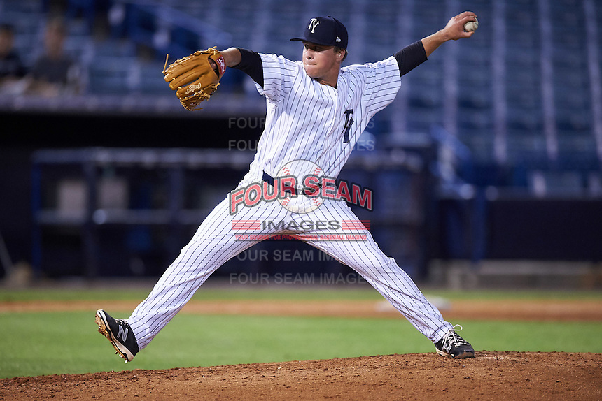 Tampa Yankees relief pitcher Jacob Lindgren (40) delivers a pitch during a game against the Bradenton Marauders on April 11, 2016 at George M. Steinbrenner Field in Tampa, Florida.  Tampa defeated Bradenton 5-2.  (Mike Janes/Four Seam Images)