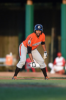 Aberdeen IronBirds outfielder Jamill Moquete (9) leads off first during a game against the Williamsport Crosscutters on August 4, 2014 at Bowman Field in Williamsport, Pennsylvania.  Aberdeen defeated Williamsport 6-3.  (Mike Janes/Four Seam Images)