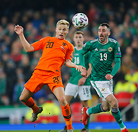 16th November 2019; Windsor Park, Belfast, Antrim County, Northern Ireland; European Championships 2020 Qualifier, Northern Ireland versus Netherlands; Donny van de Beek of Netherlands with a header in front of the Northern Ireland goal - Editorial Use