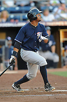 Empire State center fielder Chris Dickerson #24 swings at a pitch during a game against the Durham Bulls  at Durham Bulls Athletic Park on June 8, 2012 in Durham, North Carolina . The Yankees defeated the Bulls 3-1. (Tony Farlow/Four Seam Images).