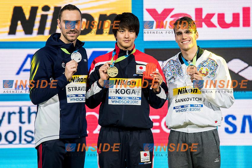 KOGA Junya JPN Gold Medal<br /> STRAVIUS Jeremy FRA Silver Medal<br /> SANKOVICH Pavel BLR Bronze Medal<br /> Men's 50m Backstroke<br /> 13th Fina World Swimming Championships 25m <br /> Windsor  Dec. 9th, 2016 - Day04 Finals<br /> WFCU Centre - Windsor Ontario Canada CAN <br /> 20161209 WFCU Centre - Windsor Ontario Canada CAN <br /> Photo &copy; Giorgio Scala/Deepbluemedia/Insidefoto