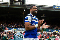 Joe Cokanasiga and the rest of the Bath Rugby team run onto the field. Gallagher Premiership match, between Leicester Tigers and Bath Rugby on May 18, 2019 at Welford Road in Leicester, England. Photo by: Patrick Khachfe / Onside Images