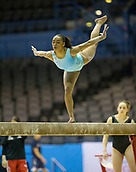 21st March 2018, Arena Birmingham, Birmingham, England; Gymnastics World Cup, day one, womens competition; Margzetta Frazier (USA) on the Balance Beam during  Training