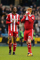 Brentford's Romaine Sawyers and Ryan Woods reaction at the final whistle during Millwall vs Brentford, Sky Bet EFL Championship Football at The Den on 10th March 2018